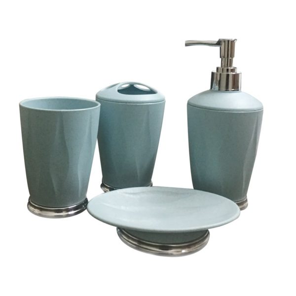 Storia 4 Pieces Bathroom Set Liquid Soap Dispenser Toothbrush Holder Tumbler Dish Blue