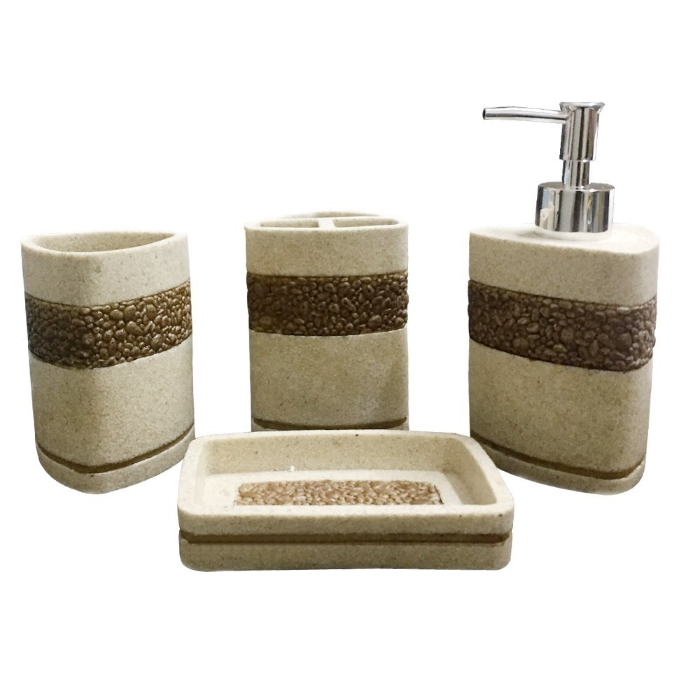 Storia Natural Stone Finish Polyresign 4 Pieces Bathroom Set-Liquid ...