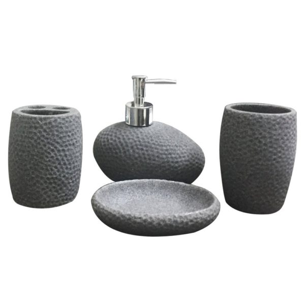 Storia Natural Stone Finish Polyresign 4 Pieces Bathroom Set Liquid Soap Dispenser Toothbrush Holder Tumbler Dish Grey