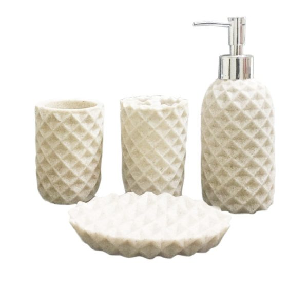 Storia Natural Stone Finish Polyresign 4 Pieces Bathroom Set Liquid Soap Dispenser Toothbrush Holder Tumbler Dish Sms 195