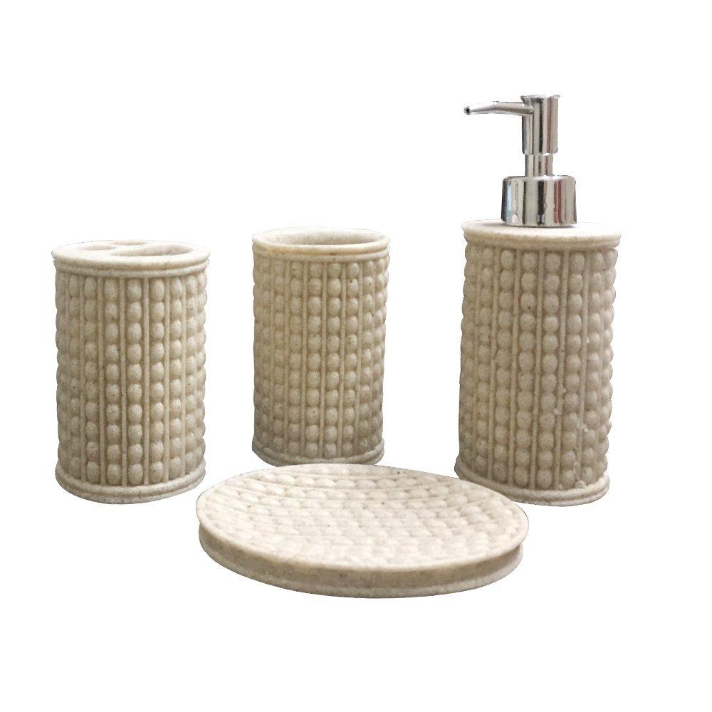Storia Natural Stone Finish Polyresign 4 Pieces Bathroom Set-Liquid ...
