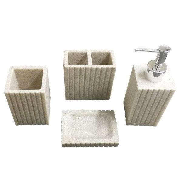Storia Natural Stone Finish Polyresign 4 Pieces Bathroom Set Liquid Soap  Dispenser, Toothbrush Holder, Tumbler U0026 Soap Dish Holder (Beige)