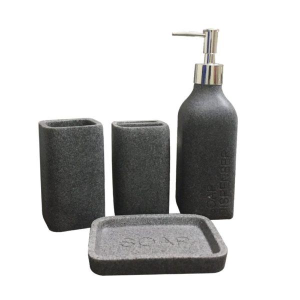 Storia Natural Stone Finish Polyresign 4 Pieces Bathroom Set Liquid Soap  Dispenser, Toothbrush Holder, Tumbler U0026 Soap Dish Holder