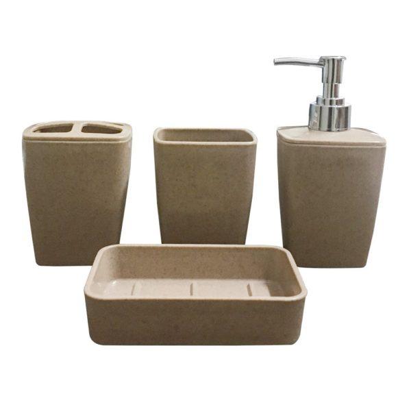 Storia 4 Pieces Bathroom Set Liquid Soap Dispenser Toothbrush Holder Tumbler Dish Grey